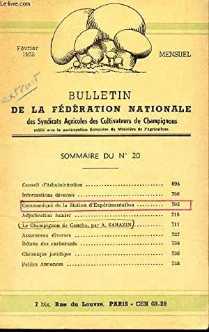 BULLETIN DE LA FEDERATION NATIONALE - N°20 - fev 1952 / Adjuction Fumier / Le ...