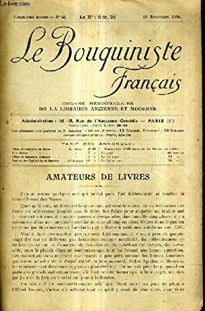 LE BOUQUINISTE FRANCAIS N°46 5E ANNEE - 15 NOVEMBRE 1924 - amateurs de livres - liste des ...