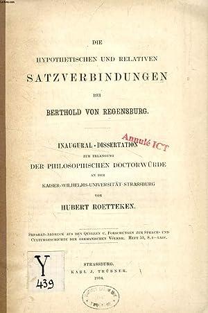 DIE HYPOTHETISCHEN UND RELATIVEN STATZVERBINDUNGEN BEI BERTHOLD VON REGENSBURG (...