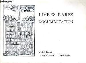 CATALOGUE DE LA LIBRAIRIE MICHEL BOUVIER - LIVRES RARES DOCUMENTATION.: COLLECTIF