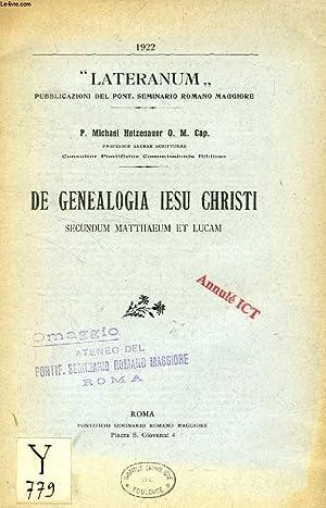 DE GENEALOGIA IESU CHRISTI SECUNDUM MATTHAEUM ET: HETZENAUER P. MICHELE,