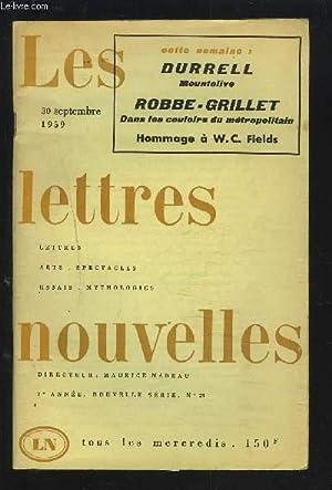 LES LETTRES NOUVELLES - N°23 - 30 SEPTEMBRE 1959 - 7° ANNEE NOUVELLE SERIE : DURELL ...