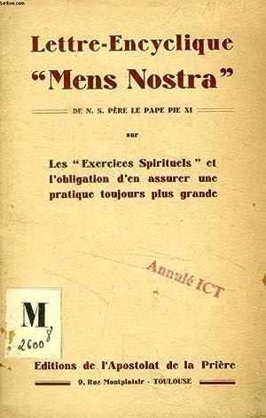 LETTRE-ENCYCLIQUE 'MENS NOSTRA' SUR LES 'EXERCICES SPIRITUELS': PIE XI