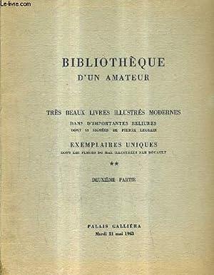 CATALOGUE DE VENTES AUX ENCHERES - BIBLIOTHEQUE D'UN AMATEUR - TRES BEAUX LIVRES ILLUSTRES ...