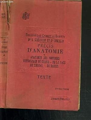 PRECIS D'ANATOMIE - ANATOMIE DES MEMBRES OSTEOLOGIE: GREGOIRE R. -