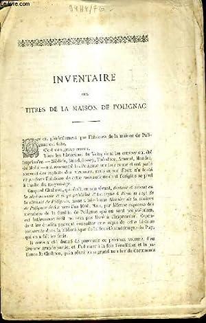 INVENTAIRE DES TITRES DE LA MAISON DE: COLLECTIF
