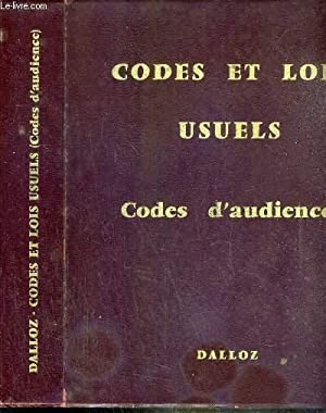 CODES ET LOIS USUELS - CODES D'AUDIENCE - TRENTE-NEUVIEME EDITION.: DALLOZ