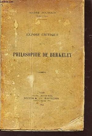 EXPOSE CRITIQUE DE LA PHILOSOPHIE DE BERKELEY: JOUSSAIN ANDRE