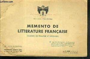 MEMENTO DE LITTERATURE FRANCAISE - (CLASSES DE: USELDINGER PIERRE