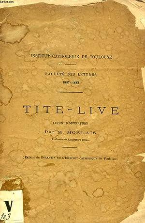 TITE-LIVE, LECON D'OUVERTURE: MORLAIS M.