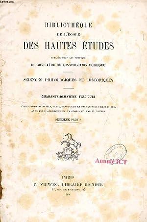 BIBLIOTHEQUE DE L'ECOLE DES HAUTES ETUDES, 42e FASCICULE, 2e PARTIE (L'inscription de ...