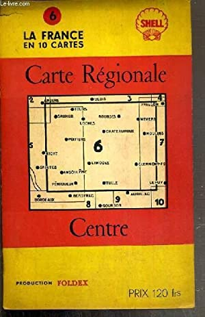 CARTE ROUTIERE SHELL - CARTE REGIONALE CENTRE - LIMOGES, BRIVE, LOCHES, GIAT - ECHELLE 1/400 ...