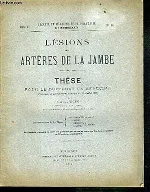LESIONS DES ARTERES DE LA JAMBE - THESE N°18 - POUR LE DOCTORAT EN MEDECINE: VIGEN CHARLES