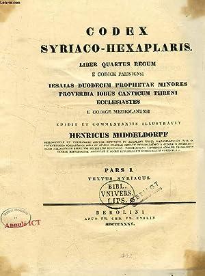 CODEX SYRIACO-HEXAPLARIS, PARS I-II, LIBER QUARTUS REGUM: COLLECTIF