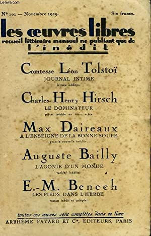 LES OEUVRES LIBRES N° 101. JOURNAL INTIME: TOLSTOI LEON, HIRSCH