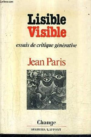 LISIBLE VISIBLE - SIX ESSAIS DE CRITIQUE: PARIS JEAN