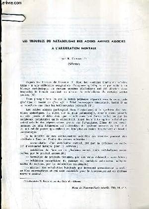 LES TROUBLES DU METABOLISME DES ACIDES AMINES ASSOCIES A L'ARRIERATION MENTALE.: R.HUMBEL