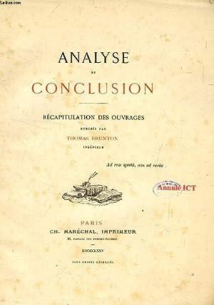 ANALYSE ET CONCLUSION, RECAPITULATION DES OUVRAGES PUBLIES PAR THOMAS BRUNTON: COLLECTIF