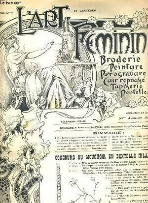 L'ART FEMININ - N° 21 - 25 MAI 1902 - BRODERIE - TAPISSERIE. - quart d'une petite ...