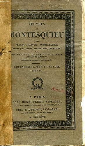 OEUVRES DE MONTESQUIEU, TOME V, DEFENSE DE: MONTESQUIEU, Par DESTUTT