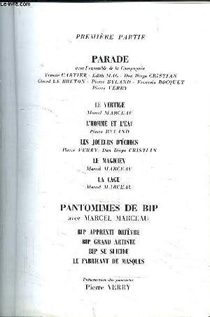 PROGRAMME DE THEATRE: DE LA RENAISSANCE / COMPAGNIE DE MIME MARCEAU MARCEAU- DANS PARADE ...