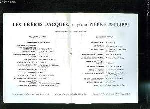 PROGRAMME DU SPECTACLE: FRERES JACQUES, AU PIANO: FRERES JACQUES