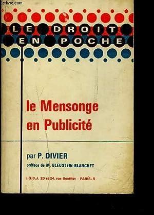 LE MENSONGE EN PUBLICITE: DIVIER P