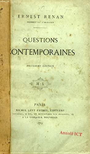 QUESTIONS CONTEMPORAINES: RENAN ERNEST