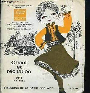CHANT ET RECITATION N° 1 CE-CM 1: COLLECTIF
