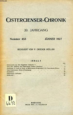 CISTERCIENSER-CHRONIK, 39. JAHRGANG, Nr. 455-466, JAN.-DEZ. 1927 (Inhalt Nr. 455: Cisterciensia aus...