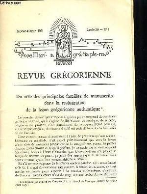REVUE GREGORIENNE N°1 JANVIER FEVRIER 1951 -: COLLECTIF