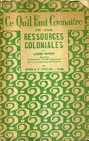CE QU'IL FAUT CONNAITRE DE NOS RESSOURCES COLONIALES.: HUBERT LUCIEN