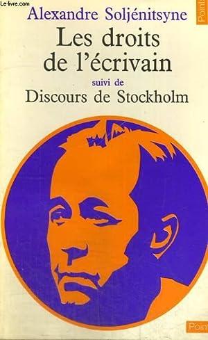 LES DROITS DE L'ECRIVAIN suivi de DISCOURS DE STOCKHOLM - Collection Points n°38: ...