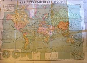 1 CARTE COULEURS - LES CINQ PARTIES DU MONDE - PLANISPHERE COMPRENANT TOUTES LES POSSESSIONS ...