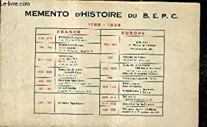 MEMENTO D'HISTOIRE DU B.E.P.C. 1789-1939.: FREHEL ROGER