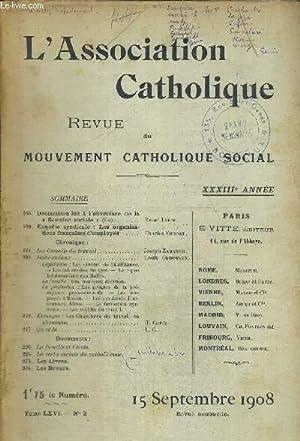 L ASSOCIATION CATHOLIQUE - REVUE DU MOUVEMENT CATHOLIQUE SOCIAL - TOME LXVI - N°3 - 15 SEPTEMBRE ...