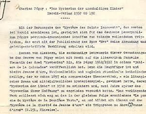 CHARLES PEGUY: 'DAS MYSTERIUM DER UNSCHULDIGEN KINDER', HEROLD-VERLAG, 1957, SS 192: ...