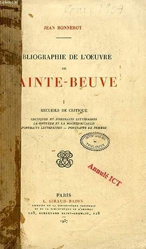 BIBLIOGRAPHIE DE L'OEUVRE DE SAINTE-BEUBE, I, RECUEILS DE CRITIQUE: BONNEROT JEAN