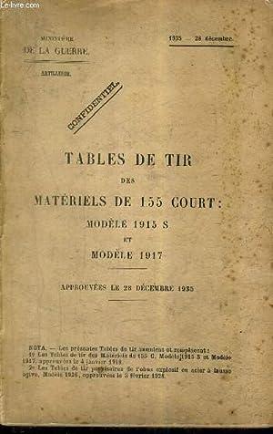 TABLES DE TIR DES MATERIELS DE 155 COURT : MODELE 1915 S ET MODELE 1917 - APPROUVEES LE 28 DECEMBRE...