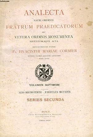 ANALECTA SACRI ORDINIS FRATRUM PRAEDICATORUM, ANNO XIII, FASC. II, APRILIS 1905 (Summarium: I. Acta...