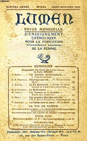 LUMEN, 10e ANNEE, N° 9-10, SEPT.-OCT. 1929: COLLECTIF