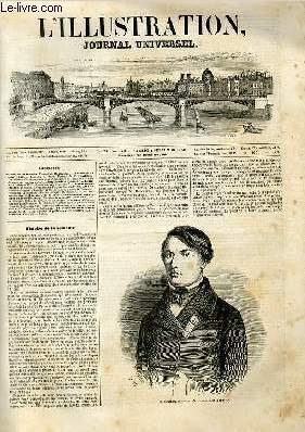 L'ILLUSTRATION JOURNAL UNIVERSEL N° 288 - Histoire de la semaine. Portrait de M. Bauchart....