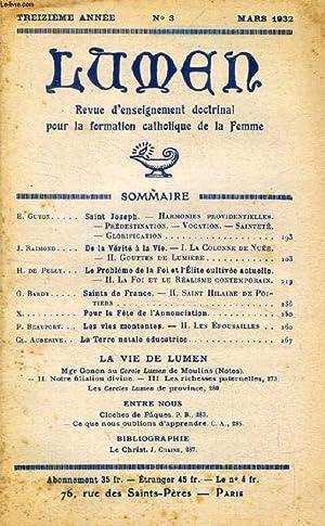 LUMEN, 13e ANNEE, N° 3, MARS 1932: COLLECTIF