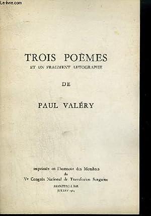 TROIS POEMES ET UN FRAGMENT AUTOGRAPHE.: VALERY PAUL
