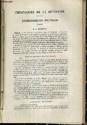 CHRONIQUES DE LA QUINZAINE, RENSEIGNEMENTS POLITIQUES, EUROPE,: CAMPAIN P.