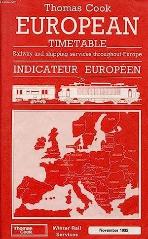 THOMAS COOK EUROPEAN TIMETABLE, WINTER RAIL SERVICES, NOV. 1992 (INDICATEUR EUROPEEN): COLLECTIF