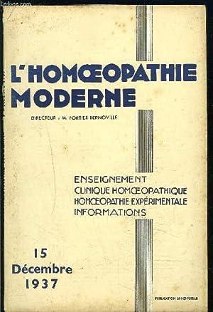 L HOMEOPATHIE N°20- DEC 1937- LA MORPHOLOGIE DES CANCEREUX: FORTIER- BERNOVILLE