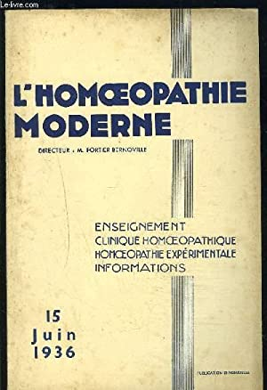 L HOMEOPATHIE MODERNE N°12- JUIN 1936- ACUPUNCTURE: FORTIER- BERNOVILLE