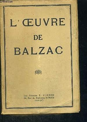 L'OEUVRE DE BALZAC: BALZAC
