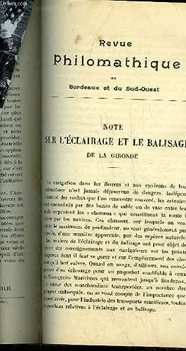 REVUE PHILOMATHIQUE DE BORDEAUX ET DU SUD OUEST - AVRIL 1898 - note sur l'éclairage et ...